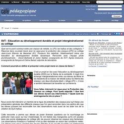 SVT : Education au développement durable et projet intergénérationnel au collège