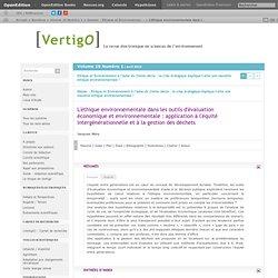 VERTIGO - AVRIL 2010 - L'éthique environnementale dans les outils d'évaluation économique et environnementale : application à l'