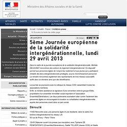 5ème Journée européenne de la solidarité intergénérationnelle, lundi 29 avril 2013