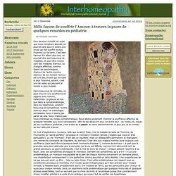 Interhomeopathy - Mille façons de souffrir l'Amour; à travers la psore de quelques remèdes en pédiatrie