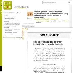 Note de synthèse [Les apprentissages cognitifs individuels et interindividuels]