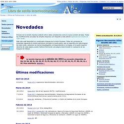 Oficina de Publicaciones — Libro de estilo interinstitucional — Novedades