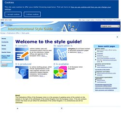 Publications Office — Interinstitutional style guide — Home