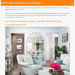 How to Make Small Room Look Bigger