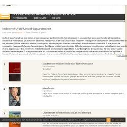 Intériorité-Unité-Unicité-Appartenance - Liste de 11 livres