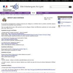 Site Interlangues Ac-Lyon - Défis et jeux à distance