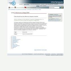 "interlangues - Livret ""réforme du collège 2016"""
