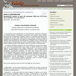 Création, intermédialité, dispositif - AAC Toulouse