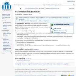 Gli intermediari finanziari - Wikiversità