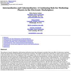 Intermediaries and Cybermediaries: Sarkar, Butler and Steinfield