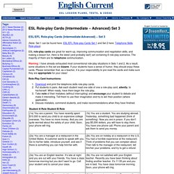 ESL Role-play Cards (Intermediate - Advanced) Set 3 - English Current English Current