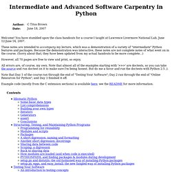 Intermediate and Advanced Software Carpentry in Python