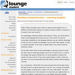 Reading Comprehension - 'Learning English'