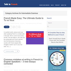Intermediate Grammar Archives - Talk in French