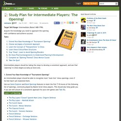 Study Plan for Intermediate Players: The Opening!