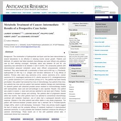 Metabolic Treatment of Cancer: Intermediate Results of a Prospective Case Series