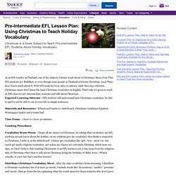 Pre-Intermediate EFL Lesson Plan: Using Christmas to Teach Holiday Vocabulary