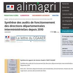 MAAF/CGAAER 24/09/14 Synthèse des audits de fonctionnement des directions départementales interministérielles depuis 2010.