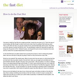 How to do intermittent fasting » The Fast Diet
