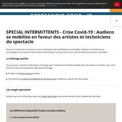 SPECIAL INTERMITTENTS - Crise Covid-19 : Audiens se mobilise en faveur des artistes et techniciens du spectacle - Groupe Audiens