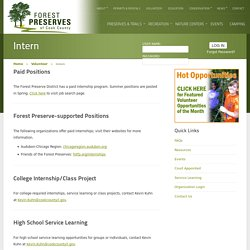 Intern - Forest Preserves of Cook County