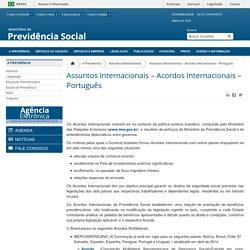 Assuntos Internacionais – Acordos Internacionais – Português - Ministério da Previdência Social
