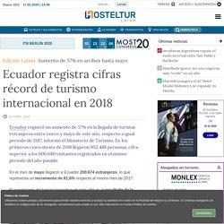 Ecuador registra cifras récord de turismo internacional en 2018 Hosteltur.com/lat
