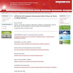 ACTAS del VII Congreso Internacional Orbis Tertius de Teoría y Crítica Literaria — Congreso de Literatura Orbis Tertius
