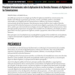 Principios Internacionales sobre la Aplicación de los Derechos Humanos a la Vigilancia de las Comunicaciones