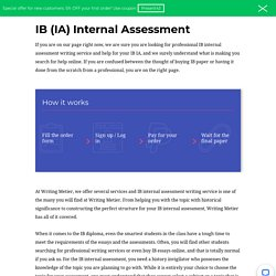 IB Internal Assessment Writing Service