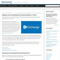 Replace Internal Name Certificates - Part II