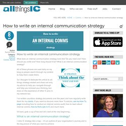 How to write an internal communication strategy