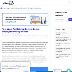 Test Local And Internal Servers Before Deployment Using Wildnet