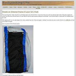 Add an Internal Frame to an Ultralight Backpack