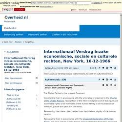 wetten.nl - Regeling - Internationaal Verdrag inzake economische, sociale en culturele rechten, New York, 16-12-1966 - BWBV0001016