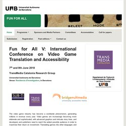 International Conference on Translation and Accessibility in Video Games