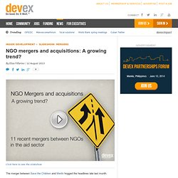 NGO mergers and acquisitions: A growing trend?