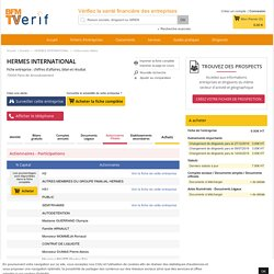 HERMES INTERNATIONAL - Fiche de l'entreprise HERMES INTERNATIONAL : Actionnaires Filiales - Siren 572076396