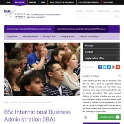 BSc International Business Administration - Bachelor - RSM