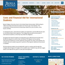 Costs and Financial Aid for International Students - Admissions