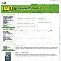 IJACT: International Journal of Advancements in Computing Technology
