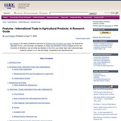International Trade in Agricultural Products: A Research Guide