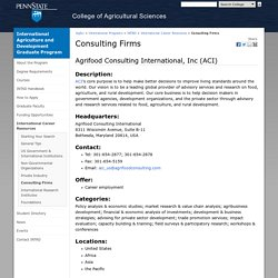 Consulting Firms — International Agriculture and Development Graduate Program — Penn State University