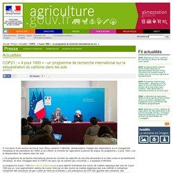 COP21 : « 4 pour 1000 » - un programme de recherche international sur la séquestration du carbone dans les sols