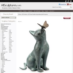 Curiosity Garden Sculpture - Cat and Butterfly, SPI-San-Pacific-International-All-Products, 33847 - AllSculptures.com