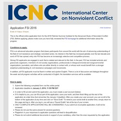 International Center on Nonviolent Conflict Submission Manager - Application FSI 2016