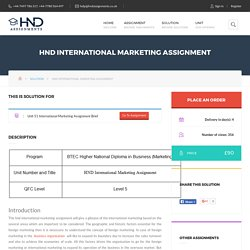 HND International Marketing Assignment – HND Assignment Help
