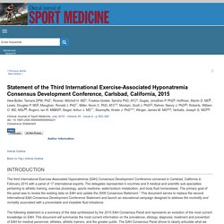 2015 Statement of the Third International Exercise-Associated Hyponatremia Consensus
