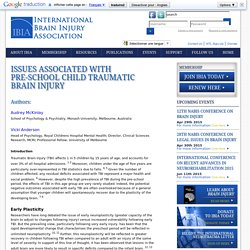 Issues Associated with Pre-school Child Traumatic Brain Injury