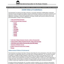 Ethical Guidelines - International Association for the Study of Dreams